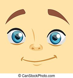 Cute cartoon boy face avatar. Vector illustration of a little kid face avatar. Portrait of a boy smiling