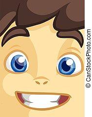 Cute cartoon boy face. Vector illustration of a little kid face avatar. Portrait of a boy smiling