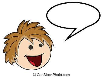 Cute Cartoon Boy Laughing