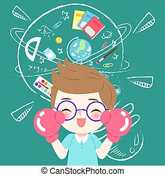 cute cartoon boy student