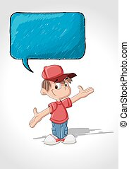 Cute cartoon boy talking