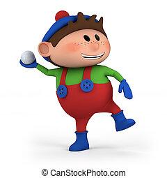 cute cartoon boy throwing snowball - high quality 3d illustration
