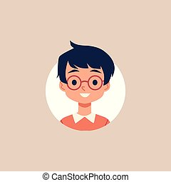 Cute cartoon boy with glasses and black hair - isolated circle portrait