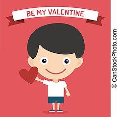 Cute cartoon boy with heart vector illustration