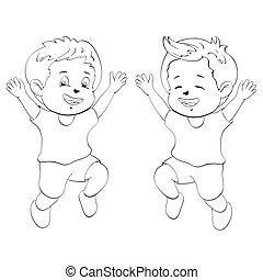 Cute cartoon boys. Drawing style