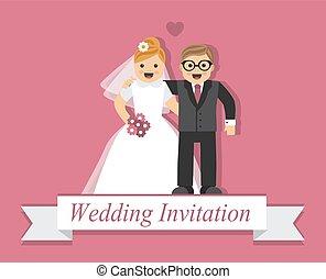 Cute cartoon bride and groom