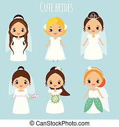 Cute cartoon brides. Princess in wedding dresses. Kawaii fiancee icons