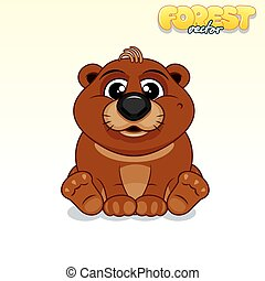Cute Cartoon Brown Bear. Funny Vector Animal