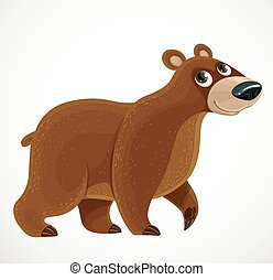 Cute cartoon Brown bear on a white background