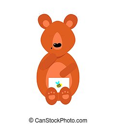 Cute cartoon brown bear with a postal envelope with a bee sign. Vector illustration isolated on white background