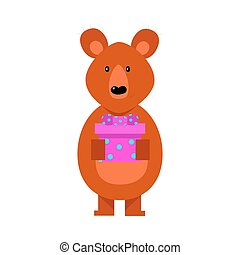 Cute cartoon brown bear with gift box in arms. Vector illustration isolated on white background
