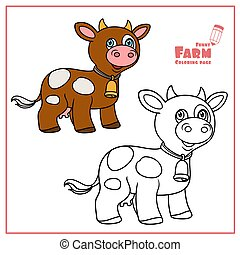 Cute cartoon brown cow with bell color and outlined on a white background for coloring page