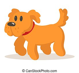 Cute cartoon brown dog. Flat vector illustration, isolated on white background.