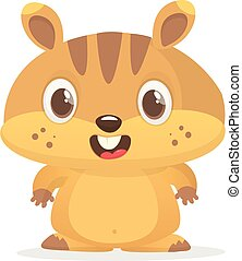 Cute cartoon brown marmot. Groundhog Day isolated vector illustration.