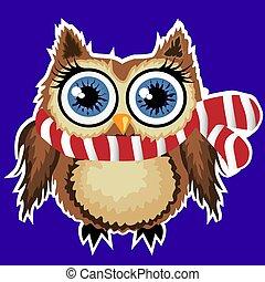 cute cartoon brown owl in a scarf in a white stroke, sticker