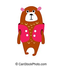 Cute cartoon brown teddy bear in cerise vest standing. Funny lovely animal colorful character vector Illustration