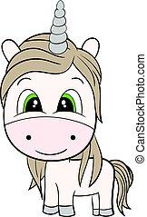 Cute Cartoon Brown Unicorn. Flat Color