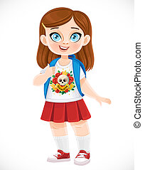 Cute cartoon brunette schoolgirl with backpack isolated on a white background
