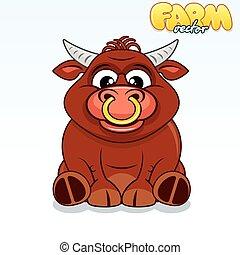 Cute Cartoon Bull