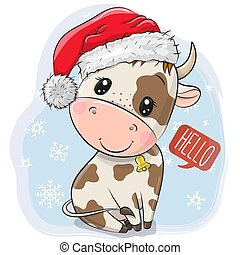 Cartoon Bull in Santa hat on a blue background