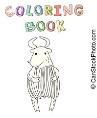 Cute cartoon bull or yak character, contour vector illustration for coloring book in simple style.