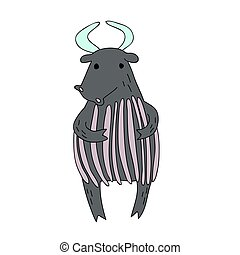 Cute cartoon bull or yak character, vector isolated illustration in simple style.