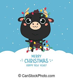 Cute cartoon bull.Happy new year