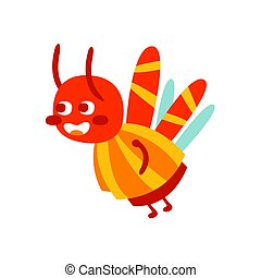 Cute cartoon bumblebee colorful character vector Illustration