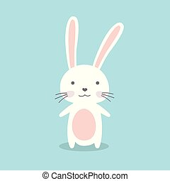 Cute cartoon bunny, funny wild animal