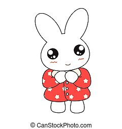 Cute cartoon bunny girl in a pretty pink dress. Vector illustration.