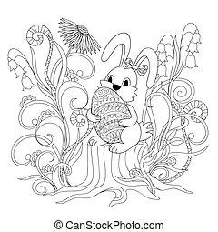 cute cartoon bunny sitting on the stump with ornamental egg...