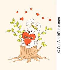 cute cartoon bunny sitting on the stump with heart