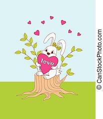 cute cartoon bunny sitting on the stump with hearts