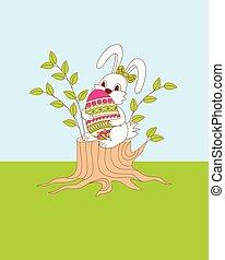 cute cartoon bunny sitting on the stump with ornamental egg