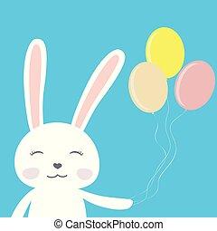 Cute cartoon bunny with balloons
