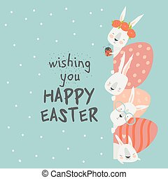 Cute cartoon bunny with Easter eggs, happy holiday