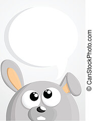 Cute cartoon bunny with speech bubble