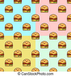 cute cartoon burgers seamless pattern on color background. Flat design Vector Illustration