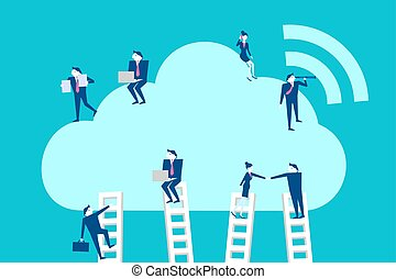 businespeople with cloud computing