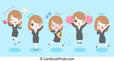 cute cartoon business woman