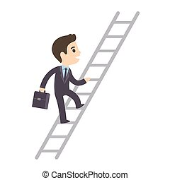 Cute cartoon businessman climbing corporate ladder isolated on white background. Illustration of promotion and success. Flat vector style.
