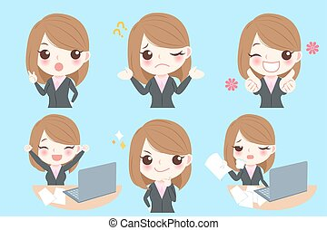 businesswoman do different emotion - cute cartoon...