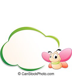 Cute Cartoon Butterfly with Frame