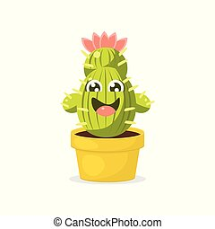 Cute Cartoon Cactus Character with Happy Funny Face Vector Illustration