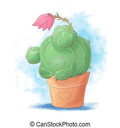 Cute cartoon cactus girl sleeping in a pot. Vector illustration.