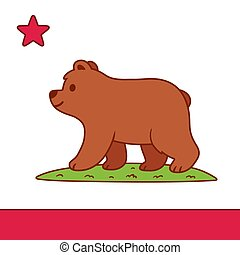 Cute cartoon California flag - Stylized California flag with...