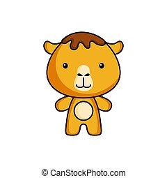 Cute cartoon camel logo template on white background. Mascot animal character design of album, scrapbook, greeting card, invitation, flyer, sticker, card. Vector stock illustration.