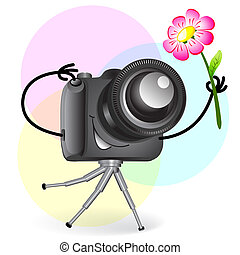 Cute cartoon camera with flower