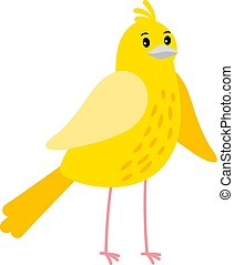 Cute cartoon canary bird icon an white background, vector...