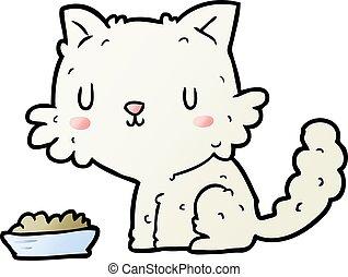 cute cartoon cat and food